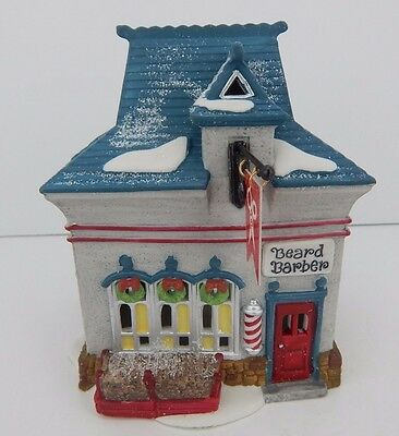 Dept 56 North Pole Beard Barber Shop #56340 D56 NP Good Condition w/ Sign & Box