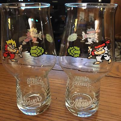 The Answer Brewpub Street Fighter Ken/Ryu anniversary glass set *Free Shipping*
