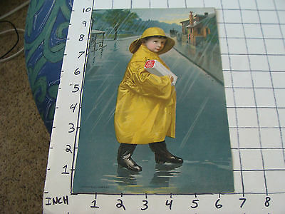 1901 National Biscuit thick stock double sided ad card boy in rain coat #1