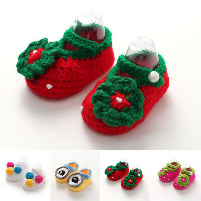 Crochet Prewalker Flower Knitted Crocheted Baby Infant Shoes Socks Casual Knit