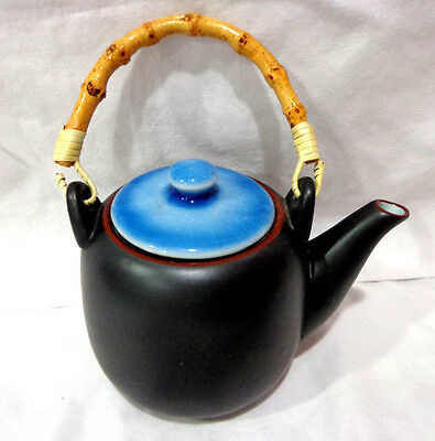 vintage japanese porcelain black and blue teapot/bamboo handle