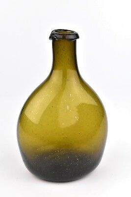 Antique 18th / 19th Century American Blown Chestnut Glass Bottle Flask #1