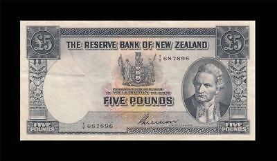"1955-56 NEW ZEALAND 5 POUNDS **Sig. Wilson** ""X-RARE"" (( EF+ ))"