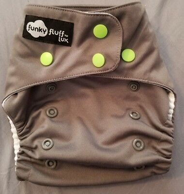Funky Fluff ai2 diaper shell cover grey with lime green snaps AWJ Kryptonite