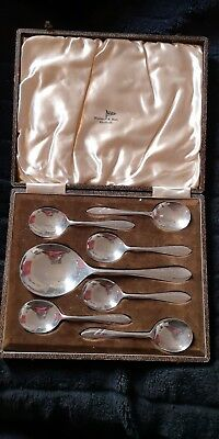 WALKER & HALL ANTIQUE SET  SPOONS SHEFFIELD SILVER PLATED c1910