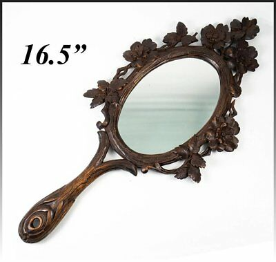 "BIG Antique Hand Carved Black Forest 16.5"" Long Hand or Wall Mirror, Leaves"