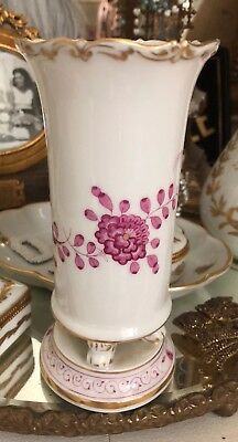 Antique Meissen Porcelain Footed Vase Parian Look Magenta Floral Decor