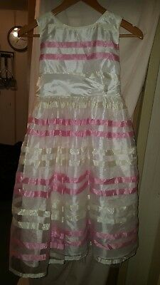 Wedding /bridesmaid/prom Dress Dress To Impress Childs Chiffony Pink /white 30Ch