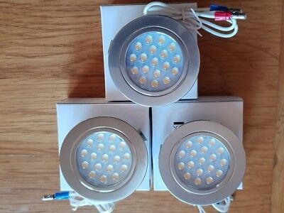 2 x 12v Dimatec 18 LED 1.2w Touch Control recessed Lights Chrome Camper vw