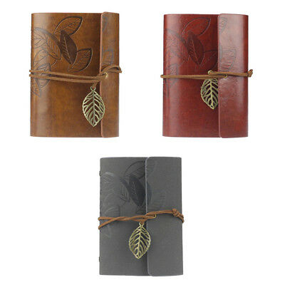 Vintage Leaf PU Leather Cover Loose Leaf Blank Notebook Journal Diary Pocke M5A6