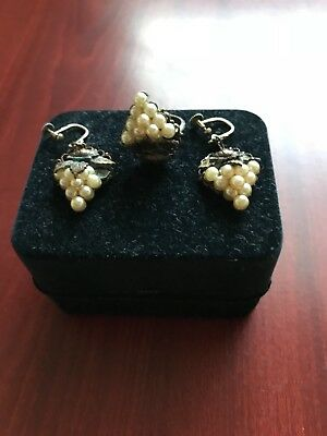 vintage antique jewellery job lot, 830 silver set earrings and ring, beautiful