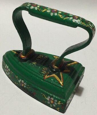 Deepfields Vintage Hand Painted No4 Flat Iron Flower Decorated
