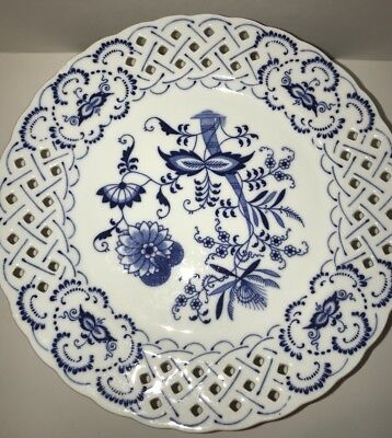Blue Danube Footed Pedestal Pierced Cake Pastry Cookie Plate Compote Japan *READ