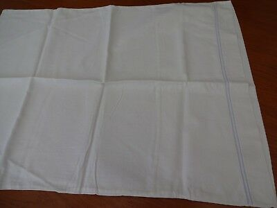 Pillowcase cotton with blue embroidered edge line