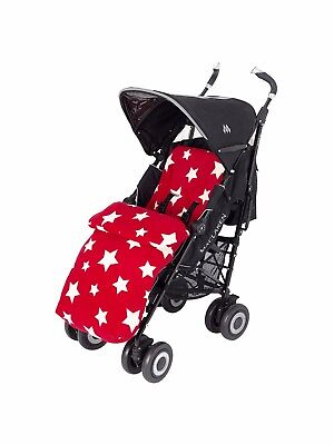 Cosy Toes John Lewis Baby Multi Star Pushchair Footmuff, Red