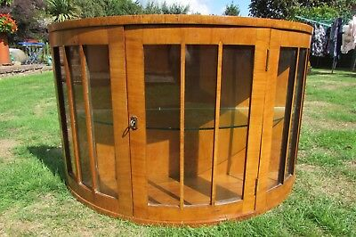 Antique Art Deco walnut bow fronted glazed wall display cabinet with key rare