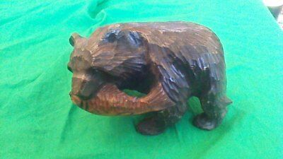 Large Heavy Vintage BLACK FOREST? JAPANESE? Hand Carved Wooden Bear With Fish