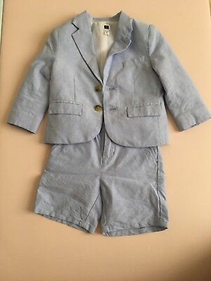 Preowned Janie And Jack Light Blue Blazer shorts 18-24 months toddler boy suit