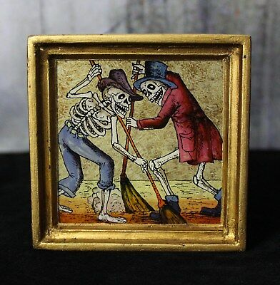 Skeletons Sweeping Dias de los Muertos églomisé Hand Painted Glass Peru Folk Art