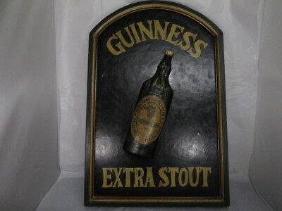 Vintage Guinness Extra Stout Wood Hand Painted Pub Sign