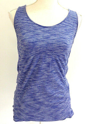 aa9911c3f5 Athleta Womens Tank Top Size Large Breathe Blue Marble Ruched Workout Yoga  #259
