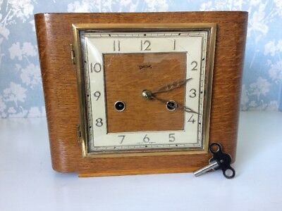 Lovely Small Art Deco antique Clock By Smiths beautuful design ,fully Restored