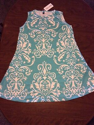 Fee Et Rit Designed In France Aqua Damask Pocket Sleeveless Summer Dress 2XL