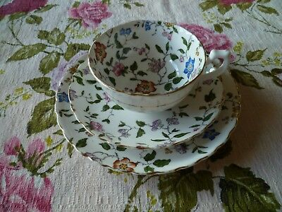 Pretty Vintage Tuscan English China Trio Tea Cup Saucer Plate Floral Chintz