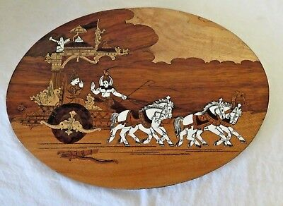 Vintage Inlaid Wooden   Wall Hanging Of  Krishna Riding A Horse Drawn Chariot