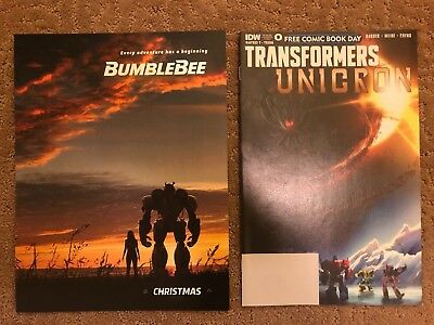 2018 New SDCC Comic Con TRANSFORMERS Bumblebee Poster and Unicorn Comic