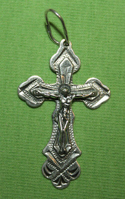 Vintage Crucifix 925 Silver Cross Pendant Orthodox Crosses Collecting #39