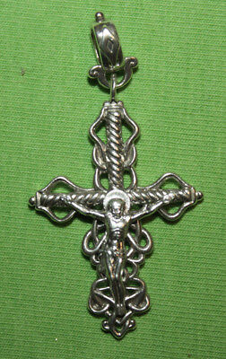 Vintage Crucifix 925 Silver Cross Pendant Orthodox Crosses Collecting #40