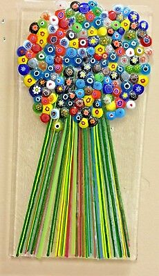 """""""millefiori  Art Glass Bouquet Sculpture One Of A Kind  Happily  Signed1"""