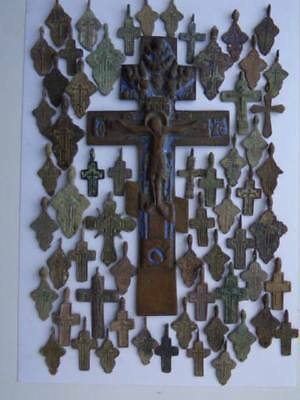 Metal detector finds.Mix lot  ancient crosses (The age of 17-19) 60 pieces. N2