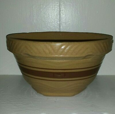 Antique Farmhouse Primitive Yellow Ware Stoneware Mixing Bowl With Brown Bands