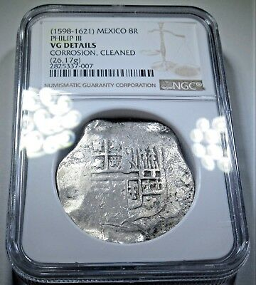 NGC 1598 1621 Spanish Silver 8 Reales Cob Eight Real Colonial Treasure Coin