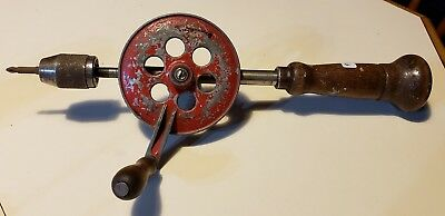 """Vintage/antique Rare Fulton Egg Beater Style Hand Drill With 1/4"""" Chuck"""