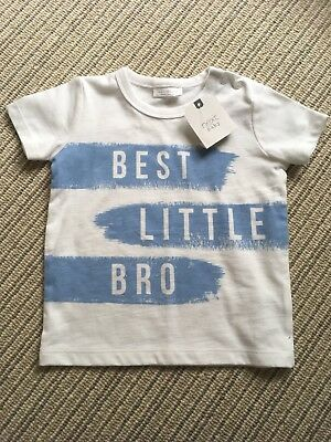 New With Tags Next Baby Boys Blue& White Little Brother print T-shirt 6-9 Months