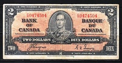 """Canada-1937 Bank of Canada 2 Dollars note P59c/BC-22c Fine/aF+ """"KIng George VI"""""""