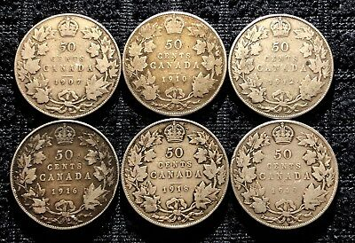 1907 1910 1912 1916 1918 1919 Canada Silver 50 Cent / Half Dollar Lot Of 6 Coins