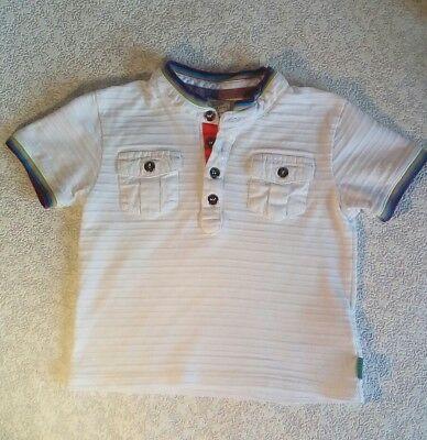 Ted Baker Short Sleeved Baker Baby White Tshirt Top ~ Age 9-12 Months (Vgc)