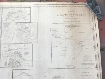 """Blunt Blueback Chart - Gulf Of Mexico, West Indies, Spanish Main - 1845 - 84"""""""