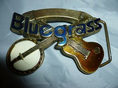 Blue Grass solid brass belt buckle by Baron dated 1980