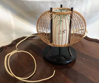 Vintage Bamboo Rice Paper Asian / Tiki Accent Lamp