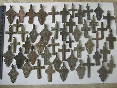 Metal detector finds.Mix lot  ancient crosses (The age of 17-19)50 pieces. N3