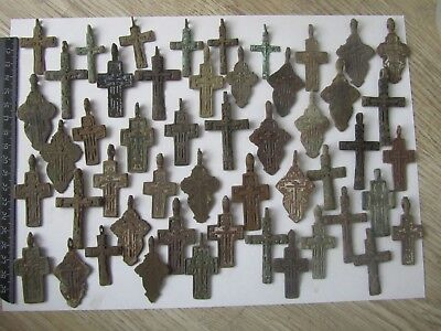 Metal detector finds.Mix lot  ancient crosses (The age of 17-19)50 pieces. N4