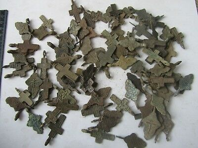 Metal detector finds.Mix lot  ancient crosses (The age of 17-19)100 pieces. N5