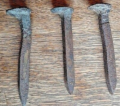 Vintage Railroad Spikes Antique Blacksmith  Train Track Nail Lot Of 3