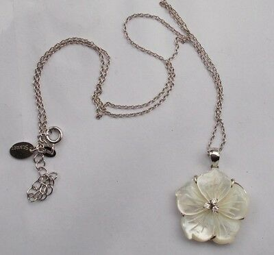 Vintage Sterling Silver 925 Stauer Mother Of Pearl Flower Form Necklace Jewelry