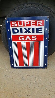 "Big Old Super Dixie Gasoline Porcelain Sign ""loaned To This Dealer Usa 1952"" Can"